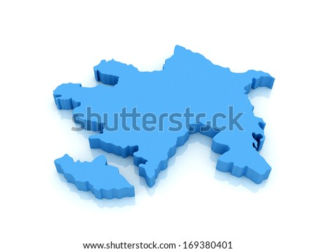 3d map of Azerbaijan with high-resolution on  white background - stock photo