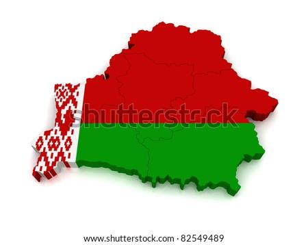 3D Map of Belarus - stock photo