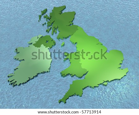 3D map of British isles on the sea - stock photo