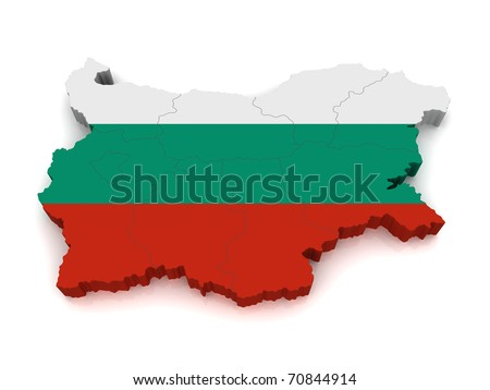 3d Map Of Bulgaria - stock photo