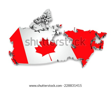 3D map of Canada on a simple background with high-resolution - stock photo