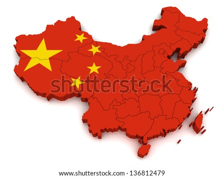 3D Map of China - stock photo