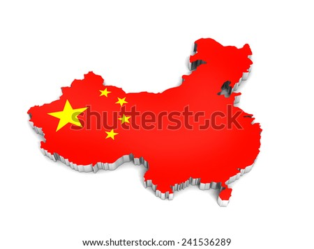 3D map of China on a simple background with high-resolution - stock photo