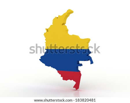 3d Map of Colombia with flag - stock photo