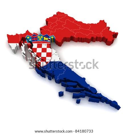 3D Map of Croatia - stock photo