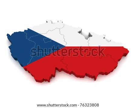3D Map of Czech Republic - stock photo