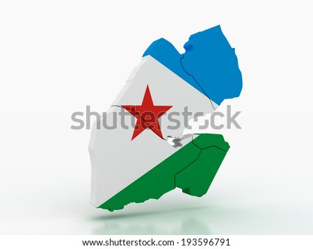 3d Map of Djibouti  with flag