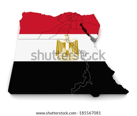 3D map of Egypt - stock photo