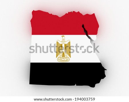 3D map of Egypt filled with flag of the state - stock photo