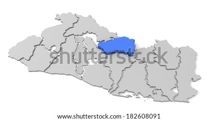 3d map of el salvador, with the separate departments, especially in cabanas, caba�±as states, infographic  - stock photo