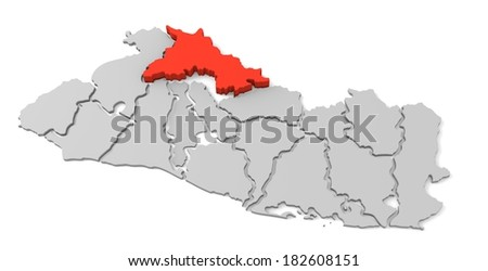 3d map of el salvador, with the separate departments, especially in chalatenango, states, infographic  - stock photo