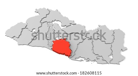 3d map of el salvador, with the separate departments, especially in la paz, states, infographic  - stock photo
