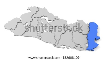 3d map of el salvador, with the separate departments, especially in la union, states, infographic  - stock photo