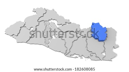 3d map of el salvador, with the separate departments, especially in morazan, states, infographic - stock photo