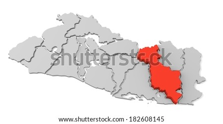 3d map of el salvador, with the separate departments, especially in San miguel, states, infographic  - stock photo