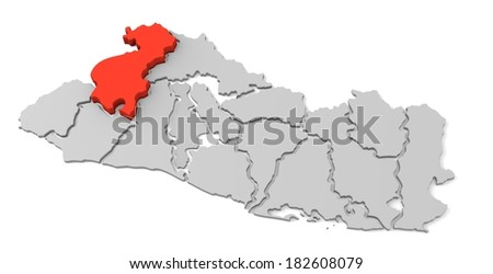 3d map of el salvador, with the separate departments, especially in santa ana, states, infographic  - stock photo