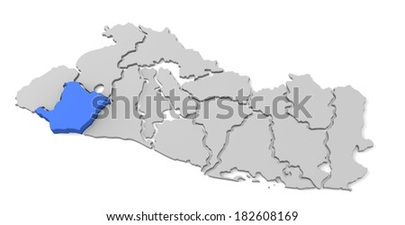 3d map of el salvador, with the separate departments, especially in sonsonate, states, infographic  - stock photo