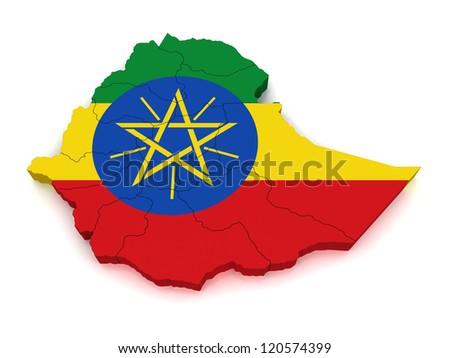 3D Map of Ethiopia - stock photo