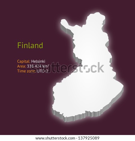 3d map of Finland isolated on purple background (raster illustration) - stock photo
