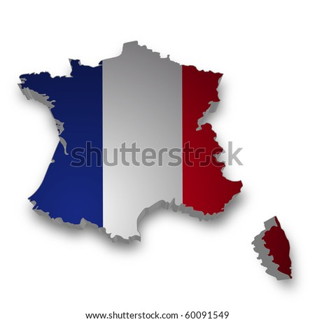 3d map of france - stock photo