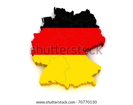 3D Map of Germany - stock photo