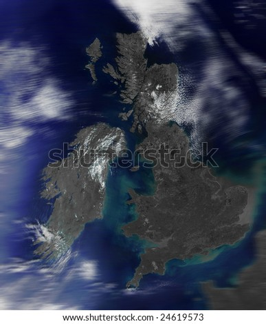 3d map of Great Britain. Look at space. Data source: nasa.