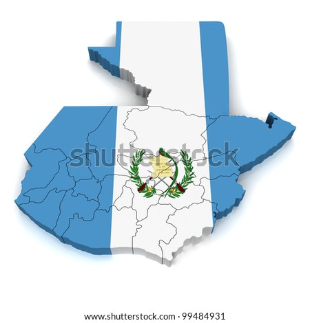 3D Map of Guatemala - stock photo