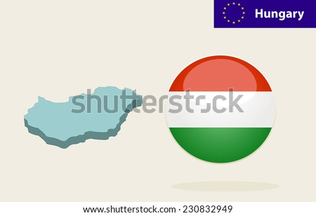 3D Map of Hungary. Flag Glossy Button Hungary. - stock photo