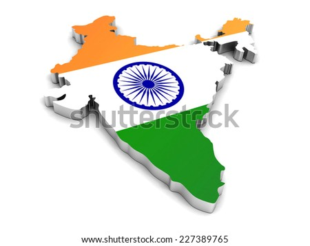 3D map of India on a simple background with high-resolution - stock photo