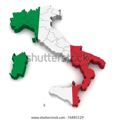 3D Map of Italy - stock photo