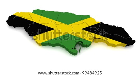 3D Map of Jamaica - stock photo
