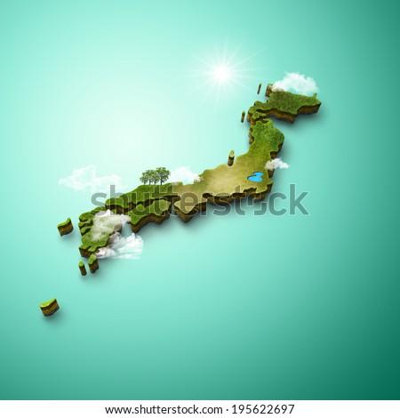 D Map Japan Stock Illustration Shutterstock - Japan map view