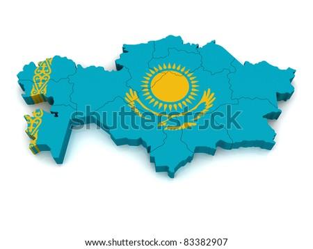 3D Map of Kazakhstan - stock photo