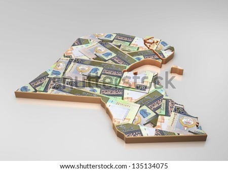 3D map of Kuwait with money