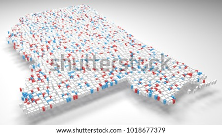3D Map of Mississippi - USA | Rendering, Mosaic of little bricks - Flag colors