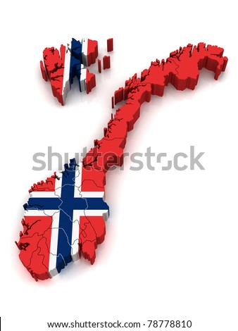 3D Map of Norway - stock photo