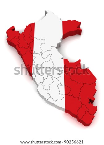 3D Map of Peru - stock photo