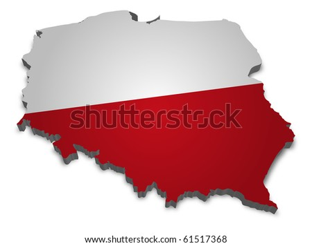 3D map of poland with flag - stock photo