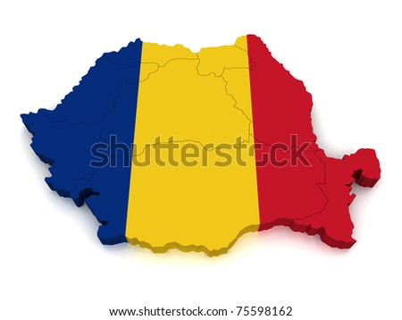 3D Map of Romania - stock photo