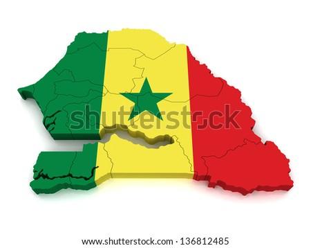3D Map of Senegal - stock photo