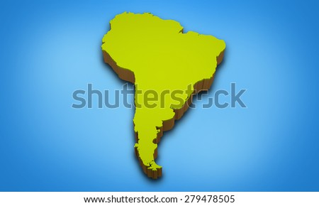 3D map of South America continent  - stock photo