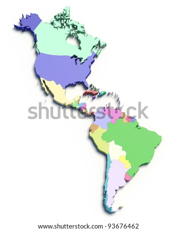 3d Map of South and North American countries on white isolated - stock photo