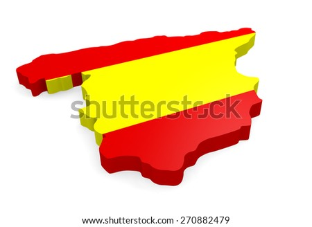 3d map of Spain with the Spanish flag on a white background - stock photo