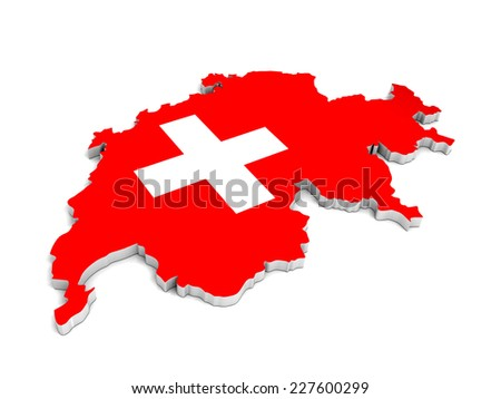 3D map of switzerland on a simple background with high-resolution
