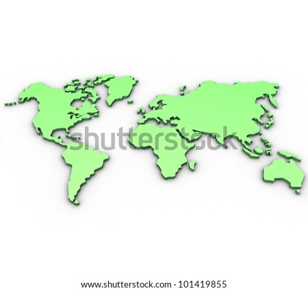 3D map of the world on a white background isolated - stock photo
