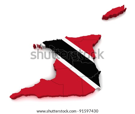 3D Map of Trinidad and Tobago - stock photo