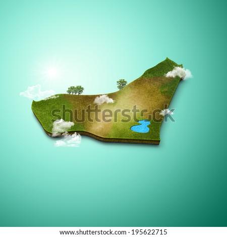 3D Map of United Arab Emirates - stock photo