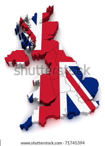 3D Map of United Kingdom - stock photo