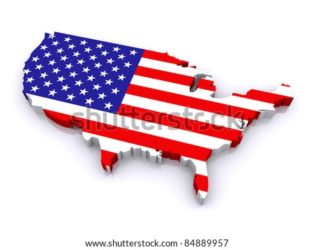 3d map of United States - stock photo