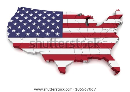 3D map of United States of America - stock photo